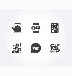 Teamwork results teapot and shopping cart icons vector