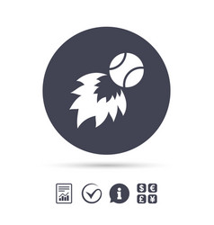 tennis fireball sign icon fast sport symbol vector image