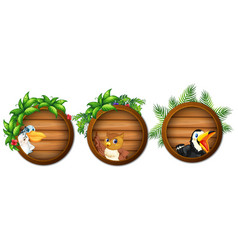 Three wooden boards with wild birds vector