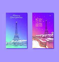 Trendy cover template eiffel tower paris france vector