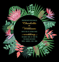 tropical wedding invitation with round frame vector image