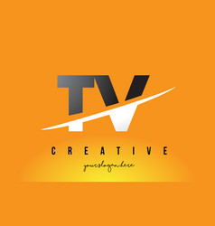 Tv t v letter modern logo design with yellow vector
