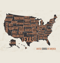 united states of america map print poster vintag vector image