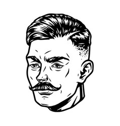 Vintage concept stylish guy head vector