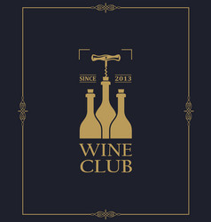 Wine club label vector
