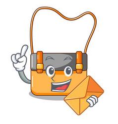 With envelope bag messenger businessman the vector
