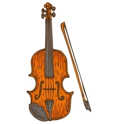 Wooden Fiddle or Violin with Fiddlestick vector
