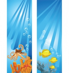 yellow fish and octopus background vector image