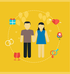 young couple wedding concept with icons vector image