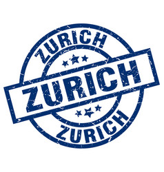 Zurich blue round grunge stamp vector