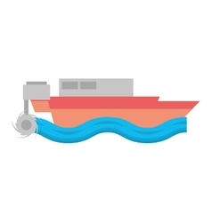 cartoon boat beach sea wave vector image