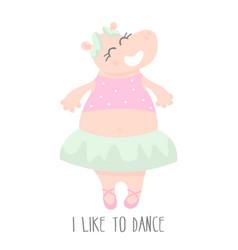 cute baby hippo ballerina dancing cartoon hand vector image