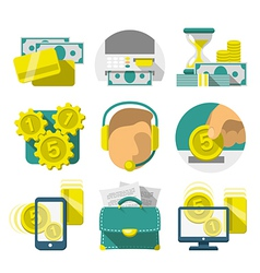Flat Banking icons vector image vector image