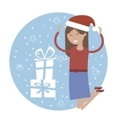 Happy Girl in Jumping for Joy Near Xmas Gifts vector image