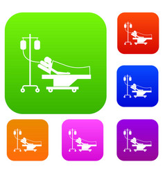 patient in bed on a drip set collection vector image