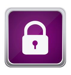 purple emblem lock icon vector image