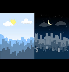 random blue city skyline difference between day vector image