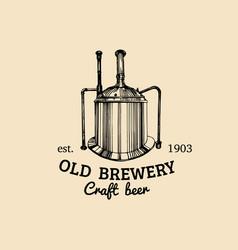 Vintage old brewery logo kraft beer icon vector