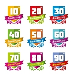 Anniversary celebration emblems in flat style vector image