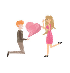 drawing couple romantic proposal heart vector image vector image