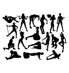 fitness gym sport activity silhouettes vector image