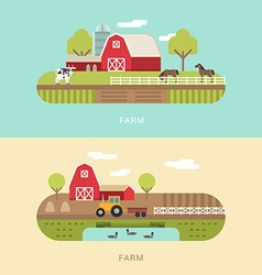 Flat Style of Farm Landscape with Farmhouses Pond vector image