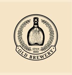Kraft beer bottle logo lager retro sign hand vector