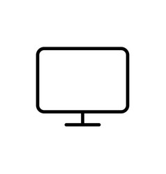 line computer monitor tv icon on white background vector image vector image