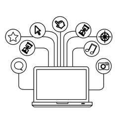 silhouette tech laptop computer database server vector image