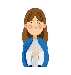 cartoon virgin mary pray spiritual christmas vector image