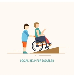 Disabled people help concept vector image