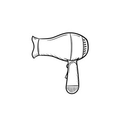 Hair dryer hand drawn sketch icon vector
