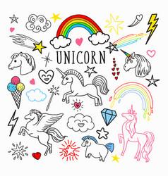 unicorn rainbow magic freehand doodle stickers vector image