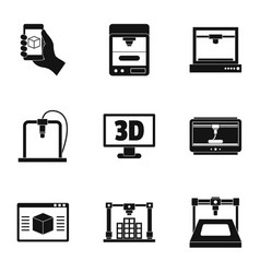 3d printer icon set simple style vector
