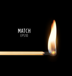 3d realistic burning match stick icon vector image
