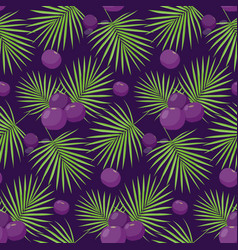 Acai berries seamless pattern vector