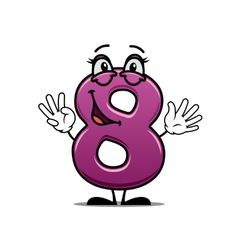 Adorable happy number 8 vector