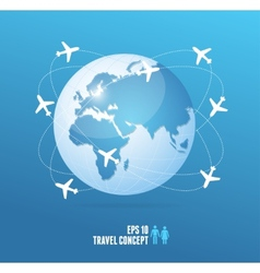 Airplanes flying around globe travel concept vector