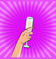 An image of a hand with a glass of champagne pop vector