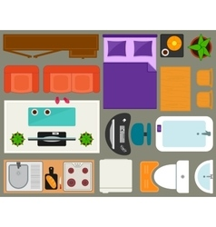 Apartment furniture set overhead top view vector
