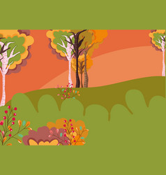 autumn landscape trees leaves berries nature vector image