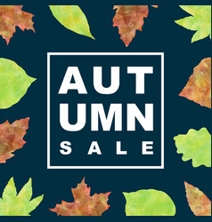 autumn sale banner with watercolor leaves vector image