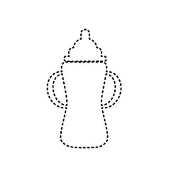 baby bottle sign black dashed icon on vector image