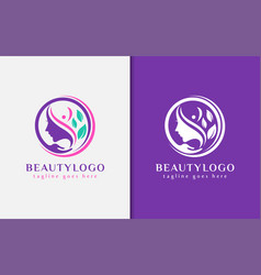 beauty logo design beauty women combined with vector image