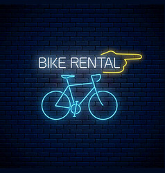 bicycle rent glowing neon sign with pointer vector image