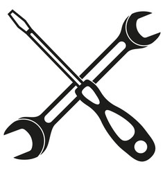 black and white screwdriver wrench cross vector image