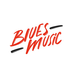 Blues music hand drawn modern brush lettering logo vector