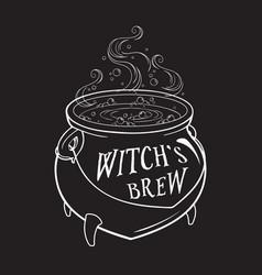 Boiling magic cauldron hand vector