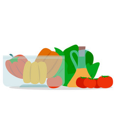 bowl with veggies vegetables and olive oil jar vector image