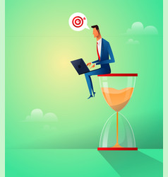 businessman sitting on the hourglass with laptop vector image